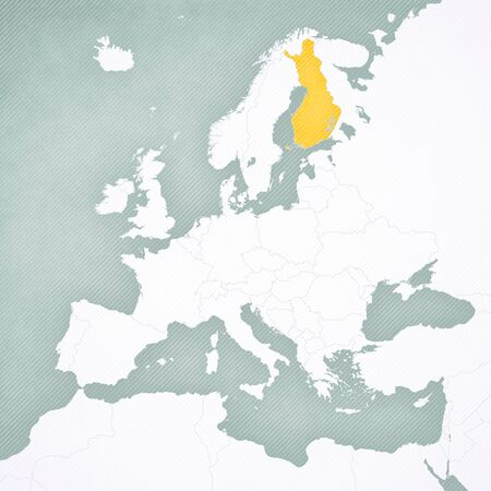 Finland on the map of Europe with softly striped vintage background.