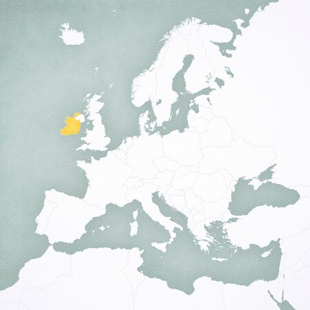 Ireland on the map of Europe with softly striped vintage background.