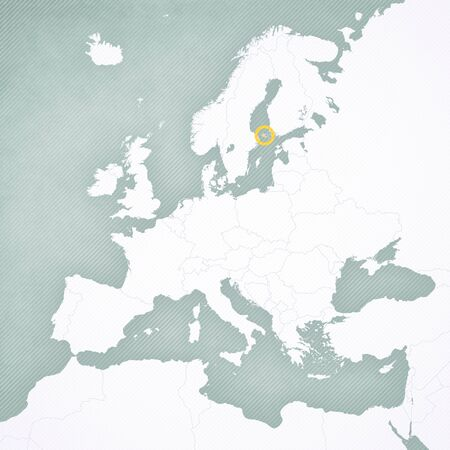 Aland Islands on the map of Europe with softly striped vintage background.