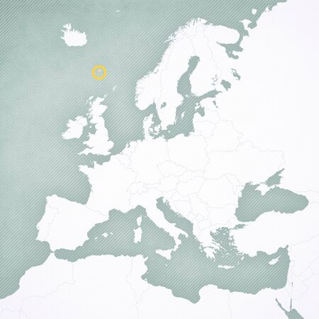 Faroe Islands on the map of Europe with softly striped vintage background. Banco de Imagens