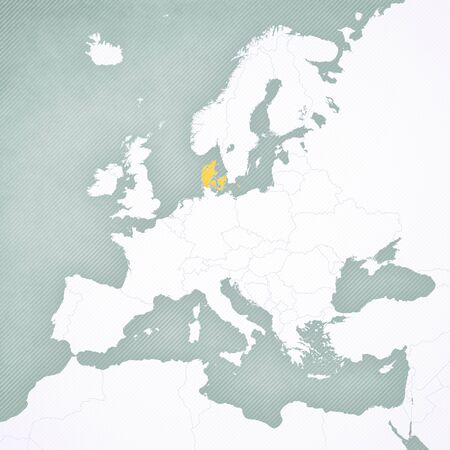 Denmark on the map of Europe with softly striped vintage background.