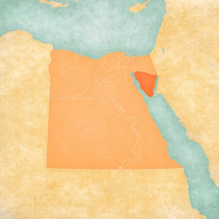 South Sinai on the map of Egypt in soft grunge and vintage style, like old paper with watercolor painting.