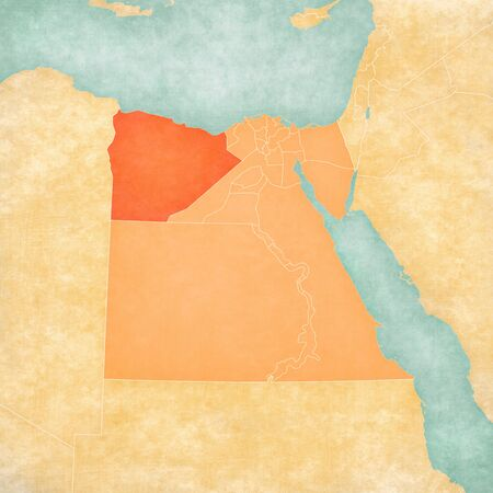 Matruh on the map of Egypt in soft grunge and vintage style, like old paper with watercolor painting.