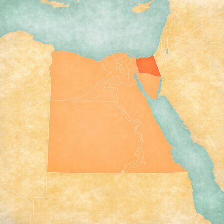 North Sinai on the map of Egypt in soft grunge and vintage style, like old paper with watercolor painting. Banco de Imagens