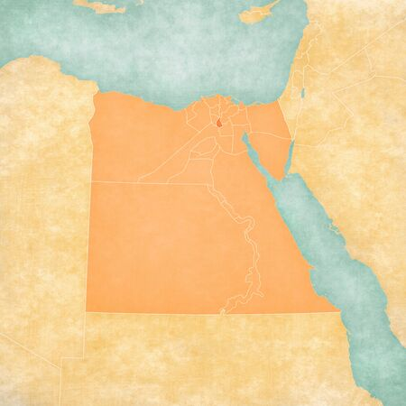 Qalyubia on the map of Egypt in soft grunge and vintage style, like old paper with watercolor painting.
