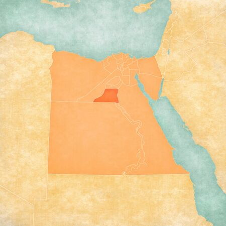 Minya on the map of Egypt in soft grunge and vintage style, like old paper with watercolor painting.