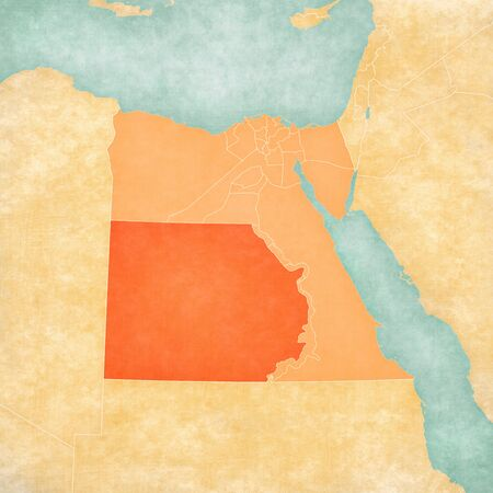 New Valley on the map of Egypt in soft grunge and vintage style, like old paper with watercolor painting. Banco de Imagens