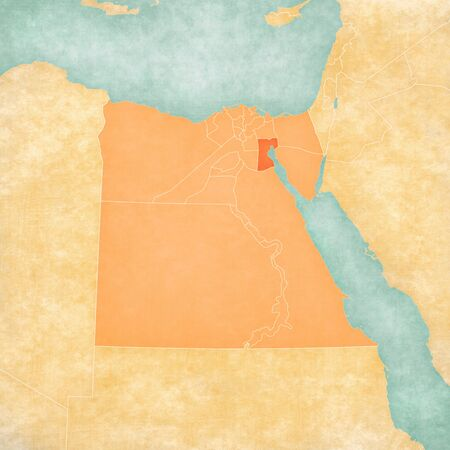 Suez on the map of Egypt in soft grunge and vintage style, like old paper with watercolor painting.