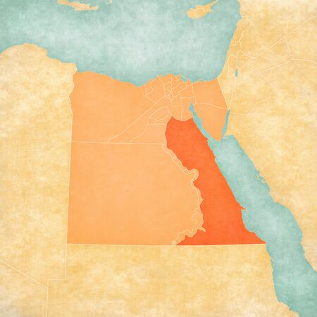 Red Sea on the map of Egypt in soft grunge and vintage style, like old paper with watercolor painting.