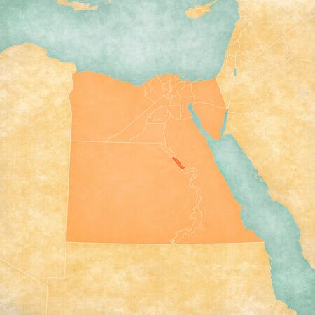 Sohag on the map of Egypt in soft grunge and vintage style, like old paper with watercolor painting.