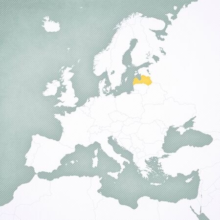 Latvia on the map of Europe with softly striped vintage background.