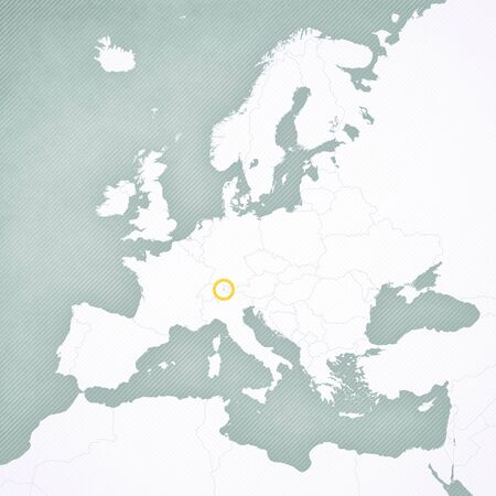 Liechtenstein on the map of Europe with softly striped vintage background. Banco de Imagens