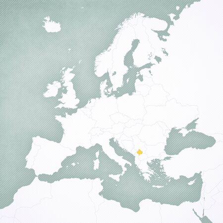 Kosovo on the map of Europe with softly striped vintage background.