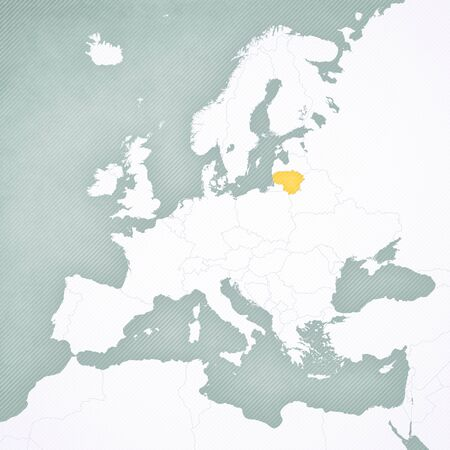 Lithuania on the map of Europe with softly striped vintage background.