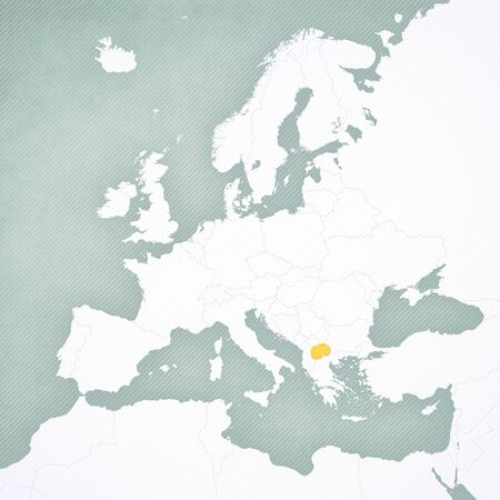 North Macedonia on the map of Europe with softly striped vintage background.