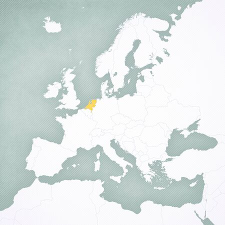 Netherlands on the map of Europe with softly striped vintage background.