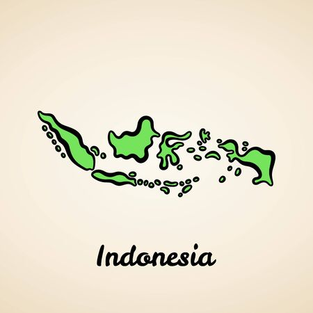 Green simplified map of Indonesia with black outline.