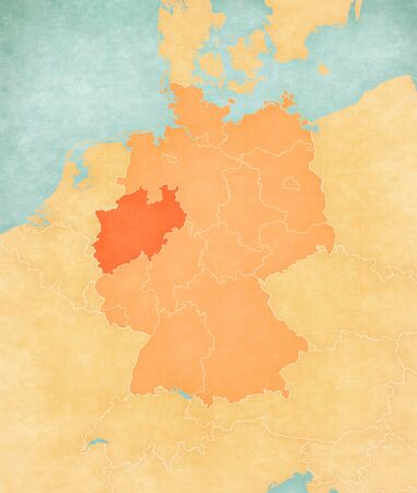 North Rhine-Westphalia on the map of Germany in soft grunge and vintage style, like old paper with watercolor painting.