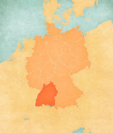 Baden-Wurttemberg on the map of Germany in soft grunge and vintage style, like old paper with watercolor painting. 版權商用圖片