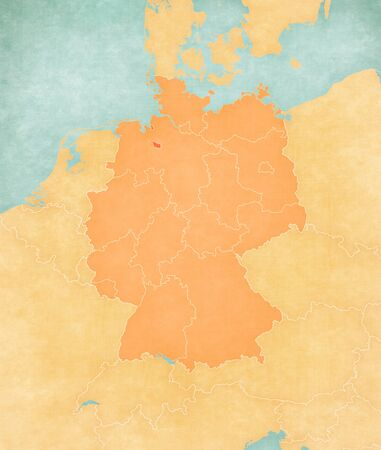 Bremen on the map of Germany in soft grunge and vintage style, like old paper with watercolor painting.