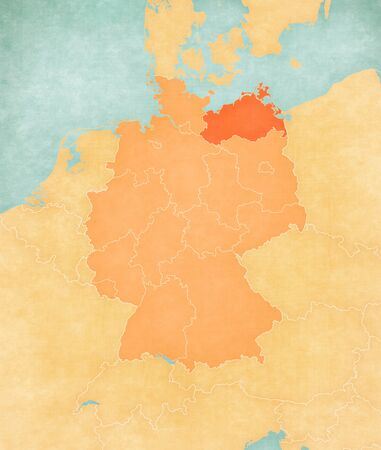 Mecklenburg-Vorpommern on the map of Germany in soft grunge and vintage style, like old paper with watercolor painting.