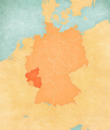 Rhineland-Palatinate on the map of Germany in soft grunge and vintage style, like old paper with watercolor painting.