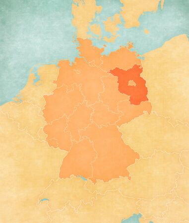 Brandenburg on the map of Germany in soft grunge and vintage style, like old paper with watercolor painting. 版權商用圖片