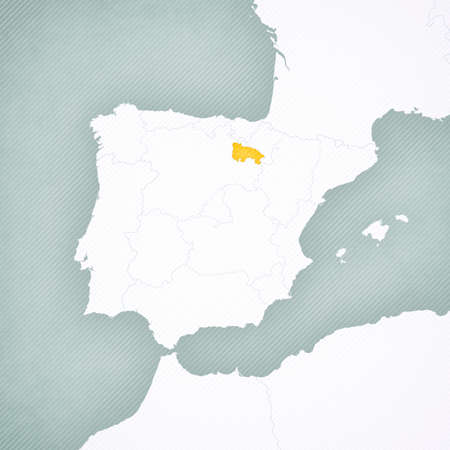 La Rioja on the map of Iberian Peninsula with softly striped vintage background.