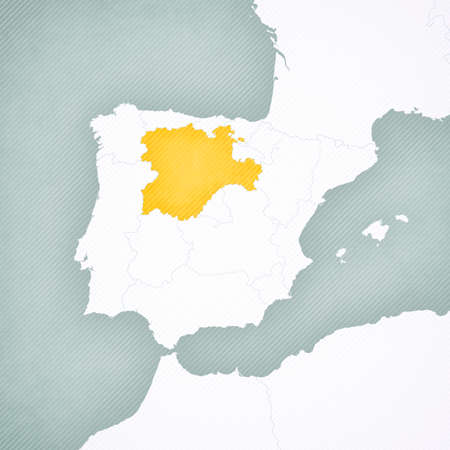 Castile and Leon on the map of Iberian Peninsula with softly striped vintage background.