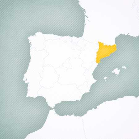 Catalonia on the map of Iberian Peninsula with softly striped vintage background. 版權商用圖片