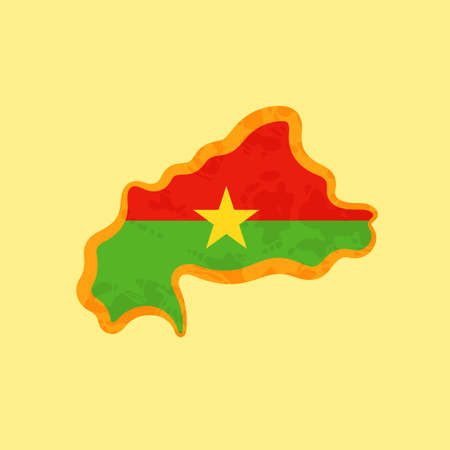 Map of Burkina Faso colored with the flag and marked with a golden line in grunge vintage style.