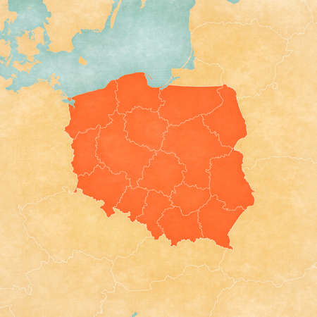 Map of Poland with borders of voivodeships in soft grunge and vintage style, like old paper with watercolor painting.