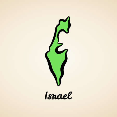 Green simplified map of Israel with black outline.
