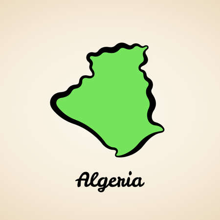Green simplified map of Algeria with black outline. 向量圖像