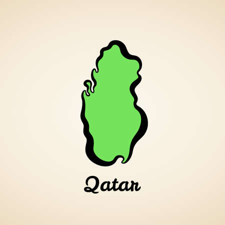 Green simplified map of Qatar with black outline. 向量圖像