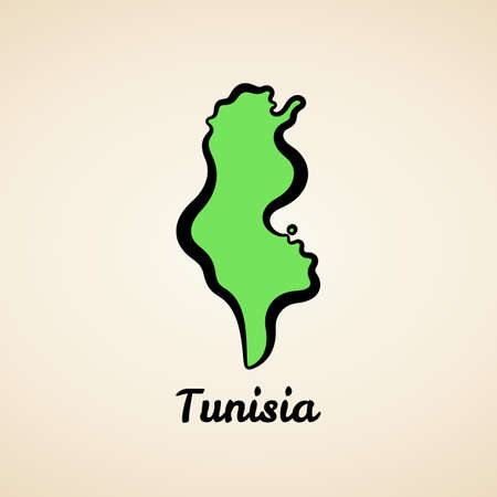 Green simplified map of Tunisia with black outline.
