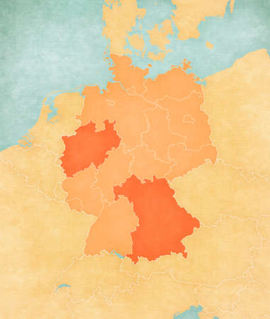 North Rhine-Westphalia on the map of Germany (tan color) in soft grunge and vintage style, like old paper with watercolor painting.