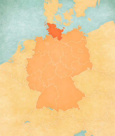 Schleswig-Holstein on the map of Germany (tan color) in soft grunge and vintage style, like old paper with watercolor painting. 版權商用圖片