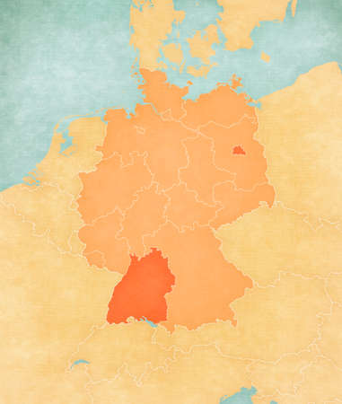 Baden-Wurttemberg and Berlin on the map of Germany (tan color) in soft grunge and vintage style, like old paper with watercolor painting.