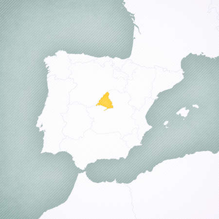 Madrid on the map of Iberian Peninsula with softly striped vintage background.