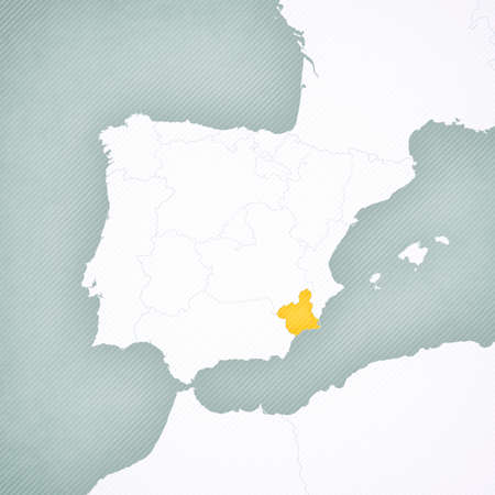 Murcia on the map of Iberian Peninsula with softly striped vintage background.