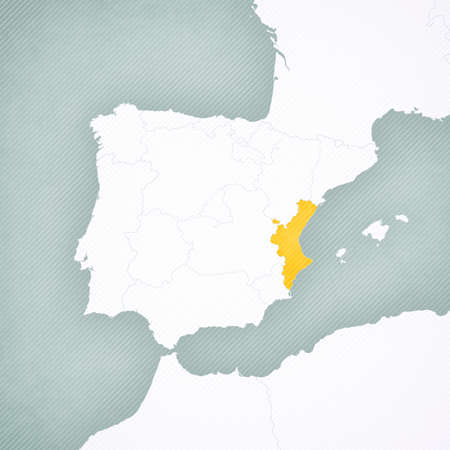 Valencia on the map of Iberian Peninsula with softly striped vintage background. 版權商用圖片