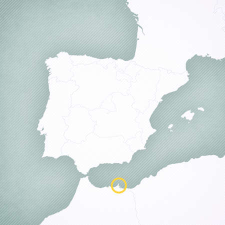 Melilla on the map of Iberian Peninsula with softly striped vintage background. 版權商用圖片