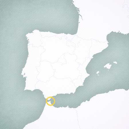 Ceuta on the map of Iberian Peninsula with softly striped vintage background.