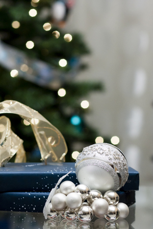silver christmas balls with blue giftbox Stock Photo