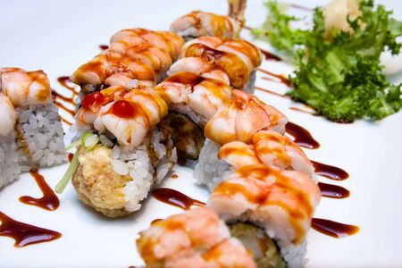 shrimp sushi roll shaped like a scorpion 版權商用圖片