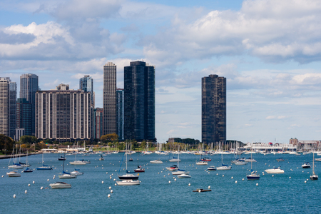 chicago lakefront skyline with boats in the water