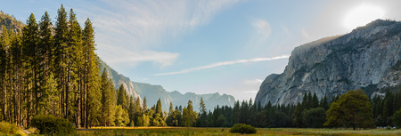 panorama view of yosemite national park during sunset