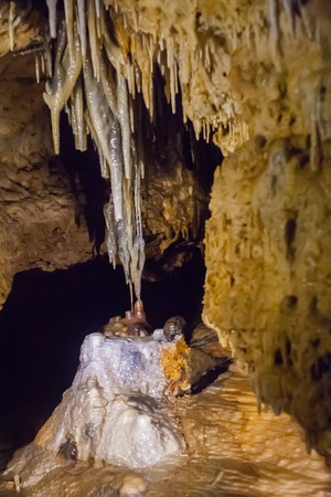 stalacites and stalagmites dripping down Фото со стока