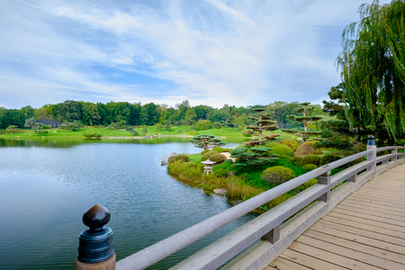 japanese garden from bridge